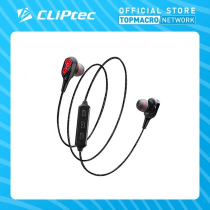 CLIPTEC DUAL DYNAMIC DRIVERS BLUETOOTH EARPHONE(AIR-2SOUL)GREY/RED