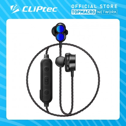 CLIPTEC DUAL DYNAMIC DRIVERS BLUETOOTH EARPHONE (AIR-2SONIC) - BLUE/RED