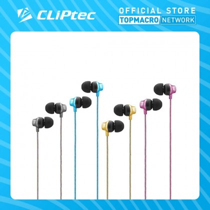 CLIPTEC MULTIMEDIA IN-EAR EARPHONE WITH MIC & VOLUME CONTROL (URBAN MUSIC) - BK/BL/GD/RP