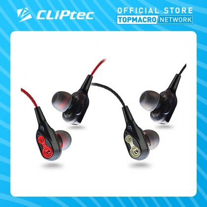 CLIPTEC DUAL DYNAMIC DRIVERS IN-EAR E EARPHONE(2SOUL)-RED,GREY