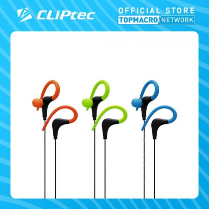 CLIPTEC SPORTS EAR HOOK EARPHONE WITH MICROPHONE (XTION-MAX) - BLUE/GREEN/ORANGE
