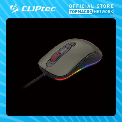CLIPTEC USB RGB 4800DPI PRO GAMING MOUSE (TAUSONOT) - BLACK/GREY